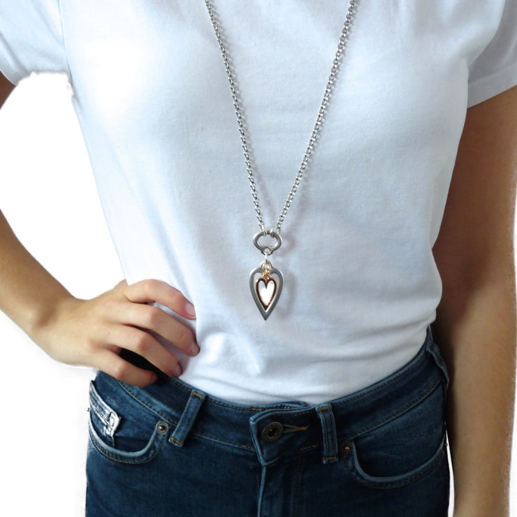 Open heart and mini heart fine double necklace, silver and rose gold