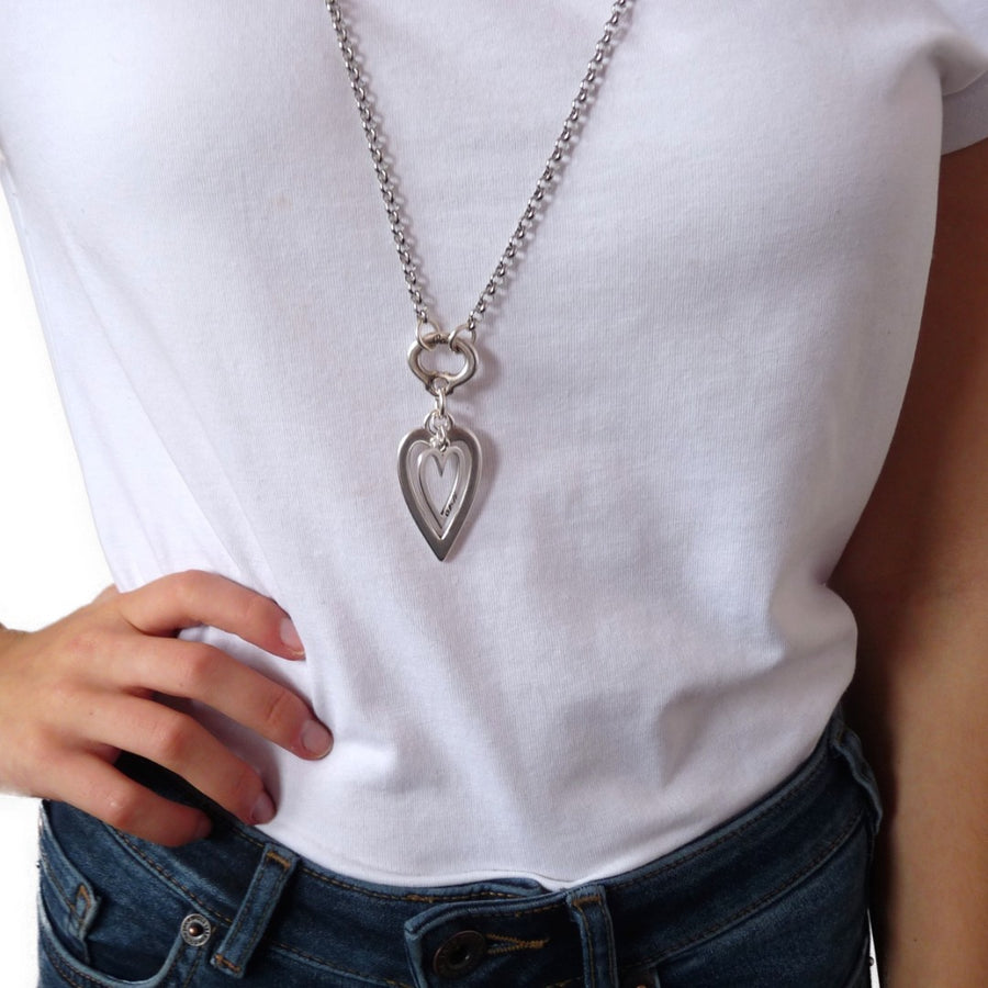 Open heart and mini heart fine double necklace, all silver