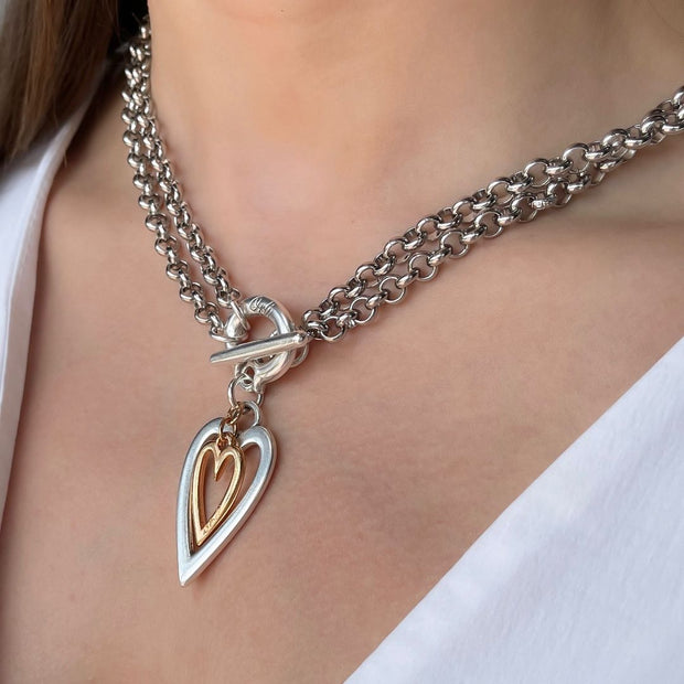 Open heart and mini heart chunky double necklace, silver and rose gold