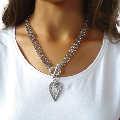 Open heart and mini heart chunky double necklace, all silver
