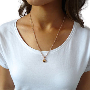 Puffed heart fine necklace, rose gold
