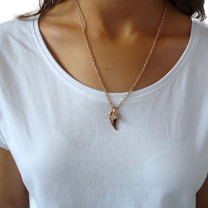 Chilli heart and Swarovski crystal fine necklace, rose gold