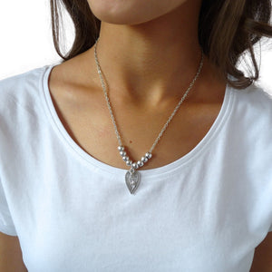 Mini open heart and crystal fine beads necklace, silver