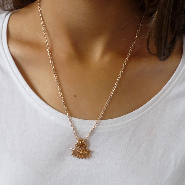 Five mini stars necklace, rose gold - Orli Jewellery