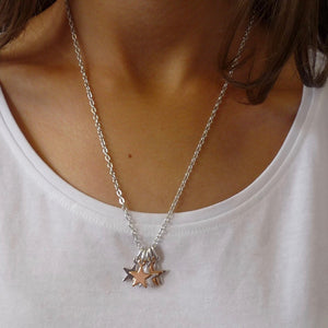 Five mini stars necklace, silver and rose gold