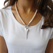 Waterpearl necklace with pointed heart