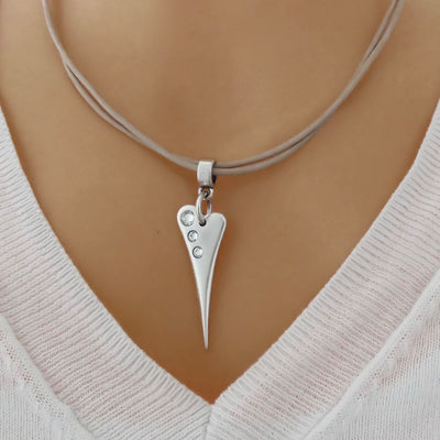 Pointed crystal heart leather strands necklace, nude and silver