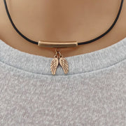 Twin angel wings leather strand necklace, rose gold and black