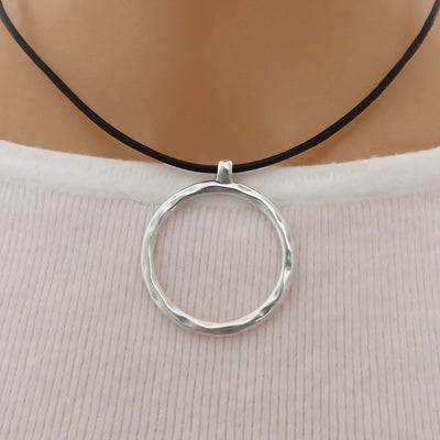 Hammered circle leather strand necklace, silver and black - Orli Jewellery