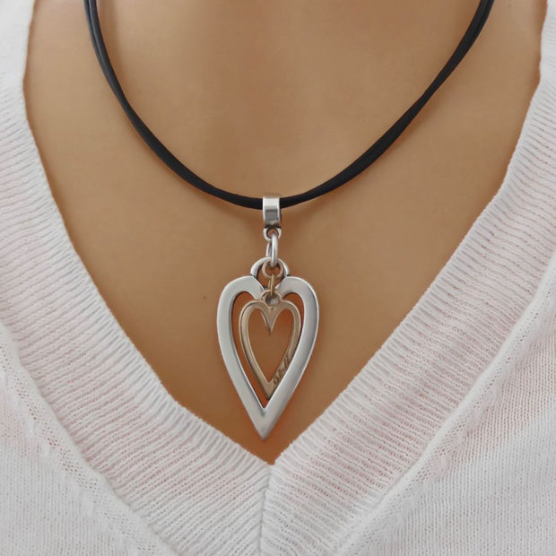 Open heart and mini heart leather strands necklace, black