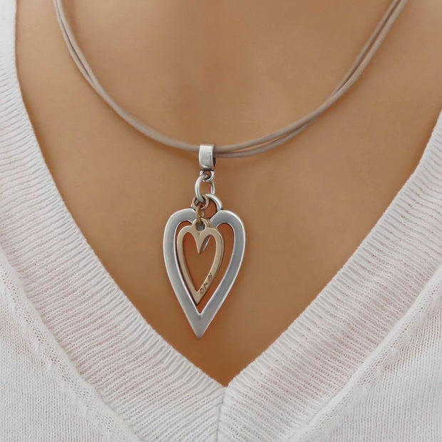 Open heart and mini heart leather strands necklace, nude