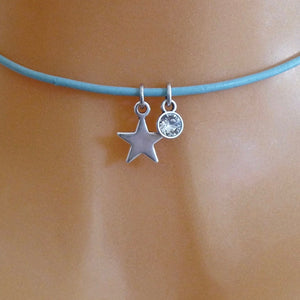 Silver star and crystal choker, various colours