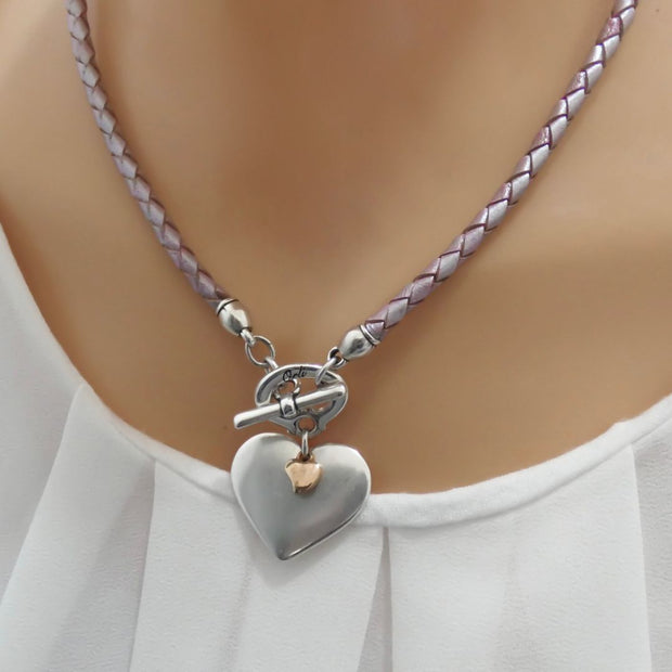 Silver and mini rose gold heart pleated leather necklace, pearlised lilac
