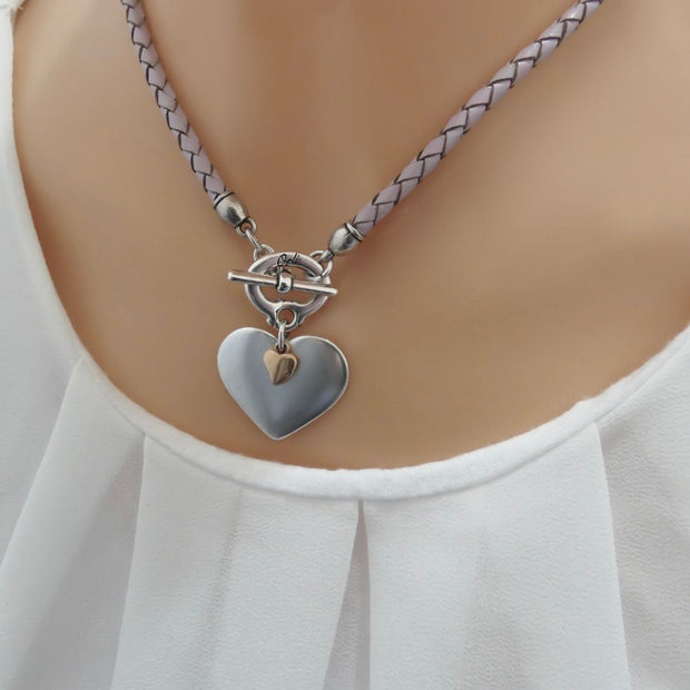 Silver and mini rose gold heart pleated leather necklace, pink