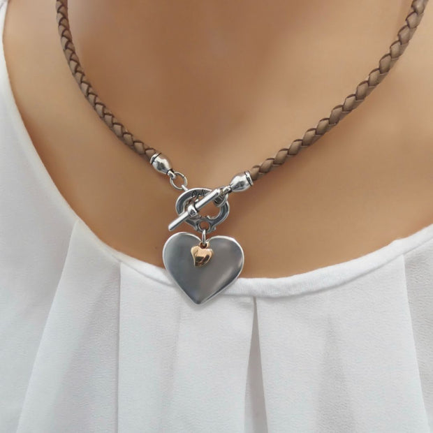 Silver and mini rose gold heart pleated leather necklace, tan