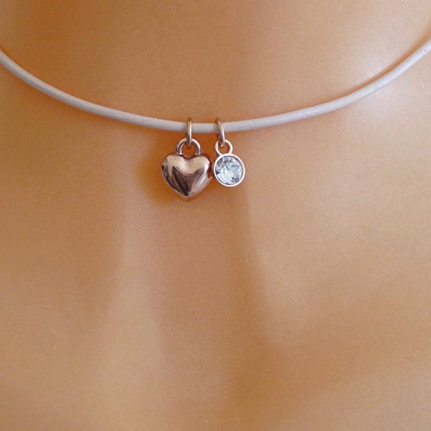 Rose gold puffed heart and crystal choker, various colours