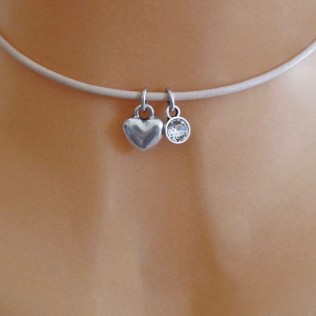 Silver puffed heart and crystal choker, various colours