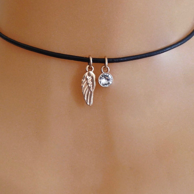 Rose gold angel wing and crystal choker, various colours
