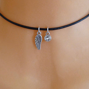 Silver angel wing and crystal choker, various colours