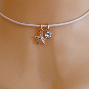 Rose gold starfish and crystal choker, various colours