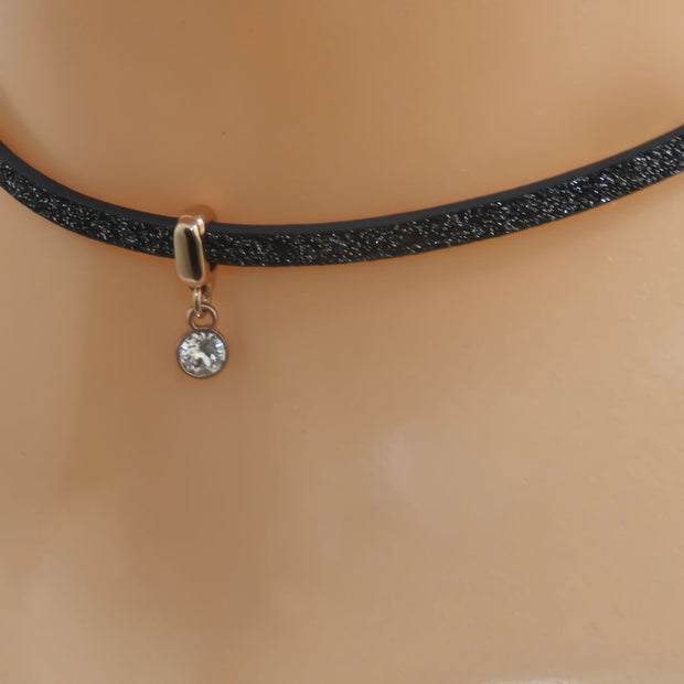 Glitter cord choker with Swarovski crystal, rose gold and black - Orli Jewellery