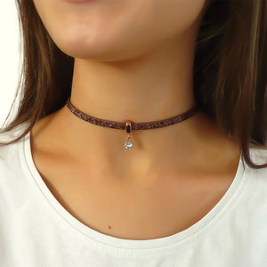 Glitter cord choker with Swarovski crystal, rose gold and copper