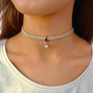Glitter cord choker with Swarovski crystal, rose gold and gold
