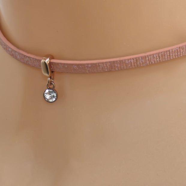 Glitter cord choker with Swarovski crystal, rose gold and peach - Orli Jewellery