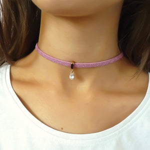 Glitter cord choker with Swarovski crystal, rose gold and light pink
