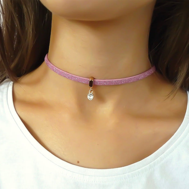 Glitter cord choker with Swarovski crystal, rose gold and light pink - Orli Jewellery