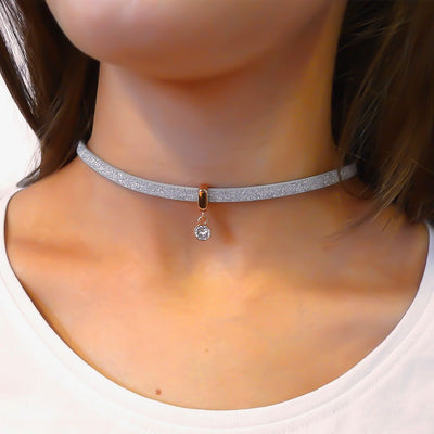 Glitter cord choker with Swarovski crystal, rose gold and silver - Orli Jewellery