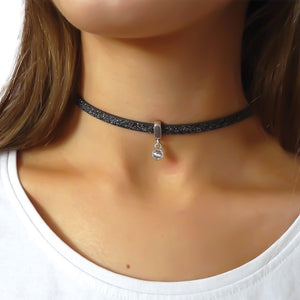 Glitter cord choker with Swarovski crystal, silver and black