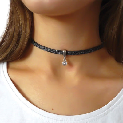 Glitter cord choker with Swarovski crystal, silver and black - Orli Jewellery