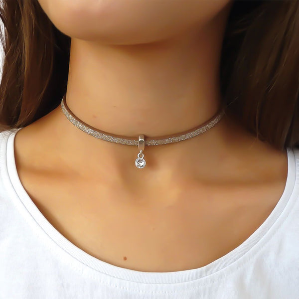 Glitter cord choker with Swarovski crystal, silver and champagne