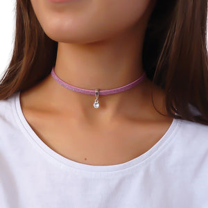 Glitter cord choker with Swarovski crystal, silver and light pink