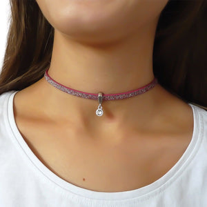 Glitter cord choker with Swarovski crystal, silver and pink multi