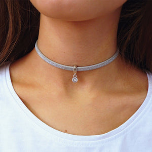 Glitter cord choker with Swarovski crystal, silver and silver