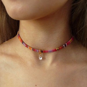 Rose gold friendship choker with Swarovski crystal, various colours