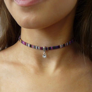 Silver friendship choker with Swarovski crystal, various colours