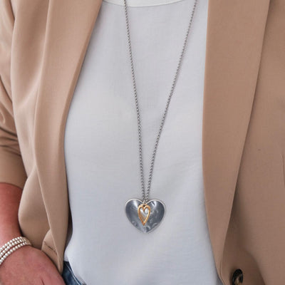 Hammered heart and open heart long necklace, silver and rose gold - Orli Jewellery