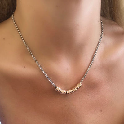 Five gliders necklace, silver and rose gold - Orli Jewellery