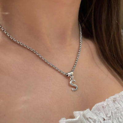 Initial charm short necklace