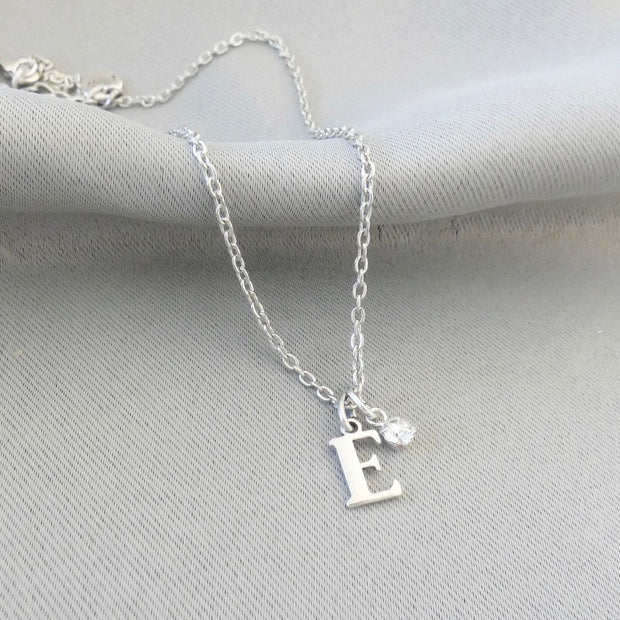 Initial and Swarovski crystal fine necklace
