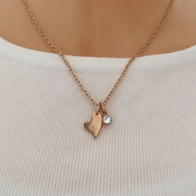 Mini curved heart and Swarovski crystal fine necklace, rose gold