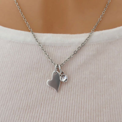 Mini curved heart and Swarovski crystal fine necklace, silver