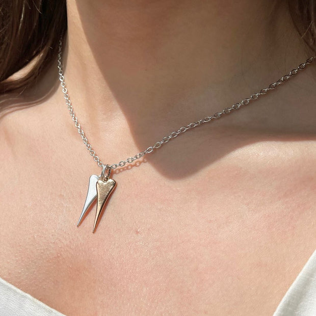 Twin tiny pointed hearts fine necklace, silver and rose gold