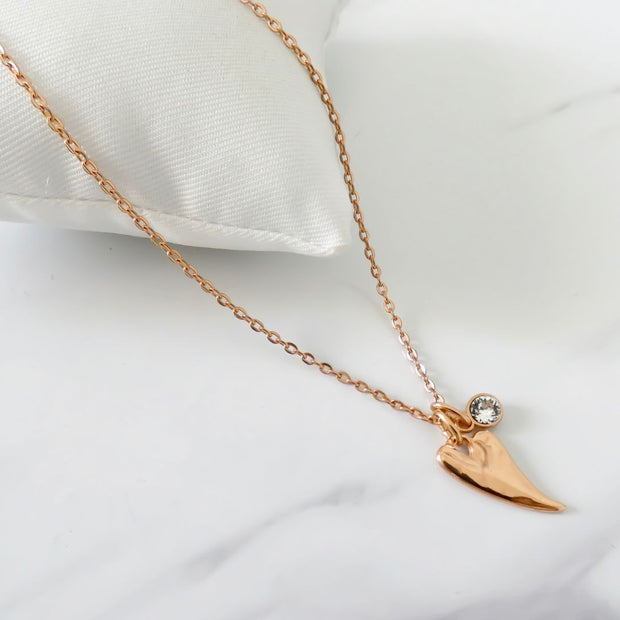 Chilli heart and Swarovski crystal fine necklace, rose gold - Orli Jewellery