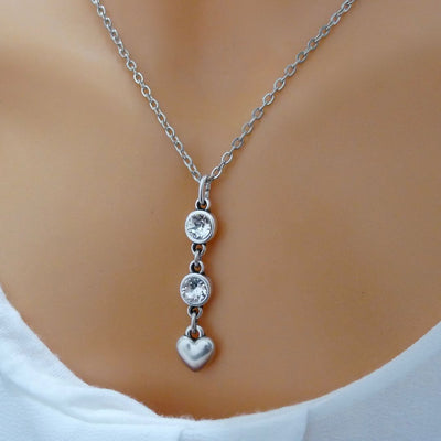 Crystals and heart necklace - Orli Jewellery