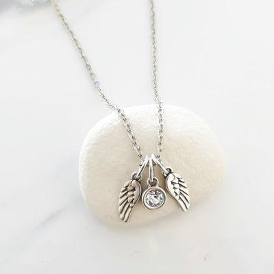 Mini twin angel wings and Swarovski crystal necklace, silver