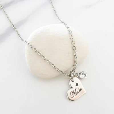 Mum charm and crystal fine necklace